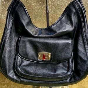 Black Shoulder Bag with Silver Chain-by Merona